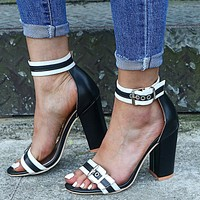 2020 new round toe thick heel fashionable all-match high heels