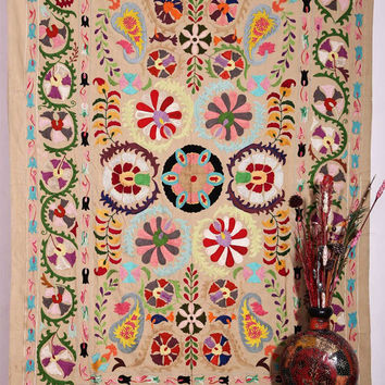 Suzani Wall Hanging , Suzani Bedspread , Suzani Throw , Suzani Tapestry , Twin Suzani Blanket Fabric Quilt , Handmade Indian Suzani Bedding
