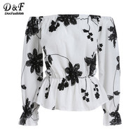 Dotfashion Off the Shoulder Floral Vintage Tops Summer Style Casual Woman New Arrivals Ladies White Black Long Sleeve Blouse