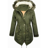 Women's Quilted Khaki Parka Jacket - Faux Fur Hooded