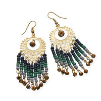 Gold Tone Multistrand Green Glass Bead Fashion Earrings