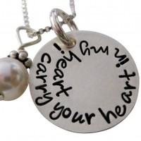 Hand Stamped I Carry You in My Heart Necklace