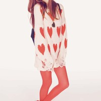 Wildfox Couture All Over Love Lennon Sweater in Pink Peony