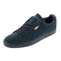 Puma Mens Basket Classic Leather Trim Animal Print Athletic Shoes