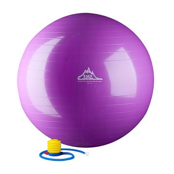 Black Mountain Products 2000lbs Static Strength Exercise Stability Ball with Pump 85 cm Purple
