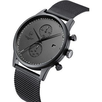 Men's Watch Fashion 10mm Thin Waterproof Watches with Chronograph Mesh Stainless Steel Wristwatch Analog Date Grey