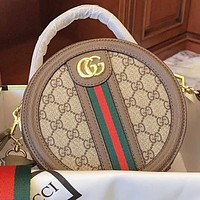 Hipgirls GUCCI New fashion stripe more letter print leather shopping leisure round handbag shoulder bag crossbody bag