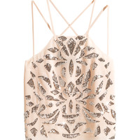 H&M - Top with Sequined Embroidery - Powder beige - Ladies