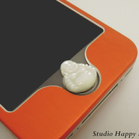 Natural Shell Buddha Apple iPhone Home Button Sticker, Cell Phone Charm for iPhone 5,4,4g,4s