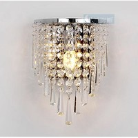 Free Shipping bedroom Crystal Hanging Wall light Modern Cemi-circle Stainless Steel Base Bathroom  Washroom wall Lamp Fixtures