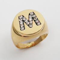 Initial ring - Personalized gold signet ring
