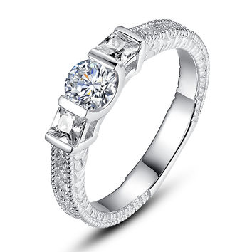 Sterling Silver 3-Stone Round and Princess Cut Cubic Zirconia Ring