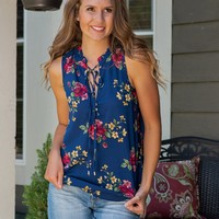 So Obsessed Floral Tie Neck Top : Navy