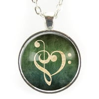 Music Clef Note Necklace, G-Clef And F-Clef Jewelry, Green Pendant
