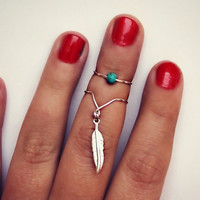 sterling silver feather, chevron, and turquoise knuckle ring set