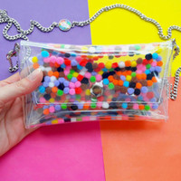 Small crossbody bag with colorful pompom, unique phone bag, bright color cellphone bag, iphone chain bag, unique clutch, iphone vegan bag