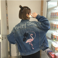 2016 new fall embroidered denim jacket female 2016 Korean version of the retro loose flamingo pattern coat