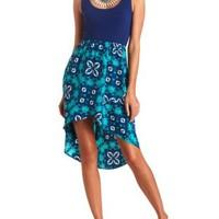 Lace-Back Scarf Print High-Low Dress by Charlotte Russe - Blue Combo