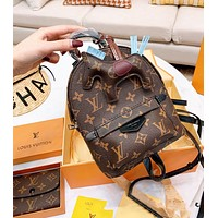Inseva LV Louis Vuitton Newest Women Leather Shoulder Bag Bookbag Backpack Wallet Purse Pony Pendant Three Piece Set