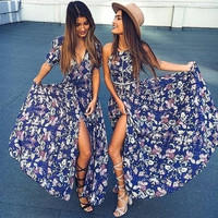 Summer Backless Bohemia One Piece Floral Dress