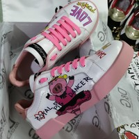 Dolce & Gabbana D&G Casual Shoes Leather Leisure Comfortable Sneaker DG shoes boots white pink