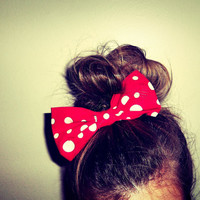 Red and white polka dot hair bow by ShortsNBowsNSuch on Etsy