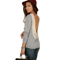 Sale-heather Gray Kick Back Crochet Top