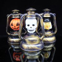 Led Halloween Lights Ghost Portable Lantern Pumpkin Skull Witch PVC Halloween Decoration Party Props Hanging Lamp With LED Bulbs