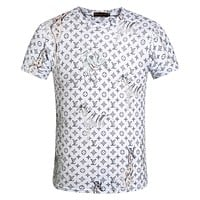LV Louis Vuitton Fashion Casual Print T-Shirt Top Tee White