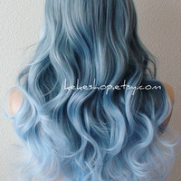 Pastel silver blue ombre wig. Grayish blue / Light blue gradient colors Long curly hair long side bangs durable daily / cosplay wig