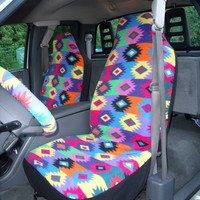 1 Set of Pueblo Design  Print  Car Seat Coves and Steering Wheel Cover, custom made.