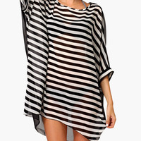 Black Striped Front Back Mesh Cover-up