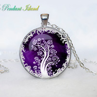 TREE OF LIFE Pendant  Tree of life Necklace Orange  Yellow White Silver Jewelry Necklace for him  Art Gifts for Her(P3H07V03)