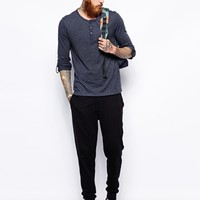 ASOS Long Sleeve Grandad With Roll Sleeve And Tab - Navy