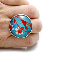 Cute Daisy Ring - Bright Blue Ring - Flower Inspired Ring - Resin Flower Cabochon - Large Cabochon Ring - Resin Sterling Silver Ring - Paint