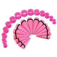 BodyJ4You Gauges Kit Hot Pink Acrylic Taper Silicone Plugs Tunnels 00G-22mm Ear Stretching Set 24PCS