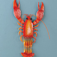 Lobster Metal Sealife Wall Art Wall Hanging Pool Side Gate Fence House Decor
