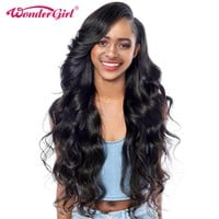 Wonder girl Glueless Lace Front Human Hair Wigs For Black Women Malaysian Body Wave Pre Plucked Lace Front Wig Non Remy