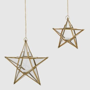Clear Glass And Metal Star Hanging Lantern