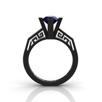 Modern Classic 14K Black Gold 1.0 Carat Blue Sapphire Bridal Solitaire Wedding Ring Engagement Ring R1024-14KBGBS