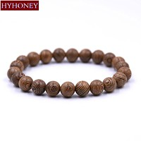 8MM Men Jewelry Wood Beads Buddha Bracelet
