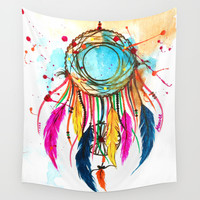 Dream a beautiful dream- Dreamcatcher Wall Tapestry by Manvee Singh