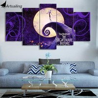 Artsailing HD 5 Piece Canvas Art The Nightmare Before Christmas Poster Wall Pictures for Living Room Free Shipping NY-7605B