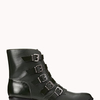 FOREVER 21 Must-Have Buckle Booties Hunter Green