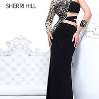 Long One Sleeve Gown with Cut Outs by Sherri Hill