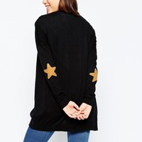 ASOS Swing Cardigan with Suede Look Star Elbow Patches at asos.com