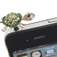 niceEshop(TM) Green Lovely 3D Bling Crystal Ear Turtle 3.5mm Jack Dust Plug Accessories for iPhone Samsung iPod HTC