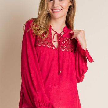 mandarin collar tie front top with embroidered detail