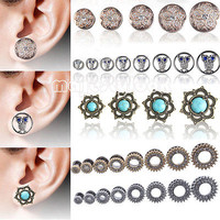 Pair Ear Gauges Tunnel Silicone&Stainless Steel&Wood Ear Plug Earring Stretcher