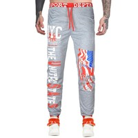 Feitong 2017 New Jogger Pants Men Cotton Patchwork Sweatpants Fitted Sweat Pants Men Active Casual Trousers Track Pants